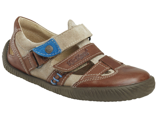 Kickers Woolof Brown-Multi Double Velcro Sneaker