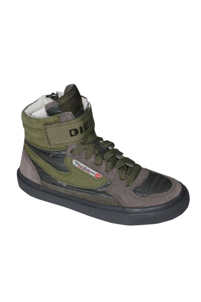 Diesel Casual Boy's High-Top Sneaker in Dark Green