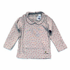 Petit Bateau Baby Girl Grey Red Heart L/S Graphic Tee