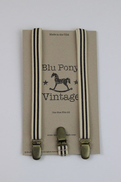 Blu Pony Vintage Cream and Black Trouser Braces