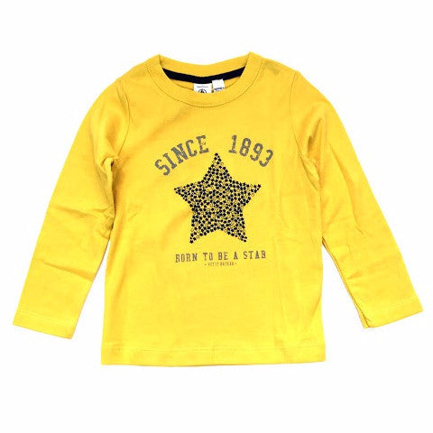 Petit Bateau Baby Boy L/S Star Mustard Color Graphic Tee