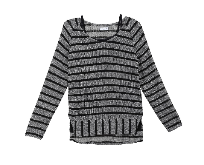 Splendid Girl Lurex Loose Knit Long Sleeve Top