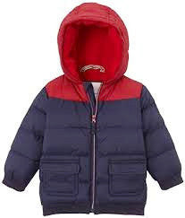 Petit Bateau Baby Boy Colorblock Puff Jacket With Hood