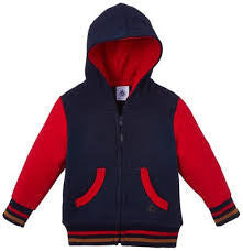 Petit Bateau Baby Boy Colorblock Zipup Hoodie with Kangaroo Pocket