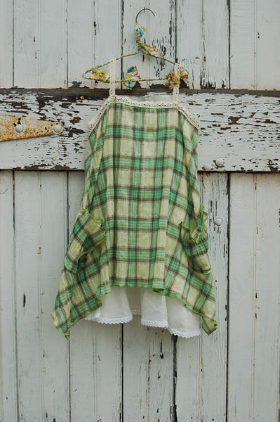 Girl and Mouse Plaid Pinafore Lime Color Dress