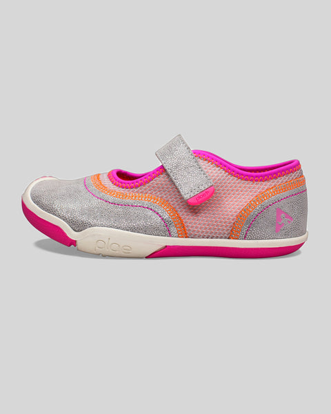 Plae Emme Suede & Mesh Silver/ Pink Mary Jane Shoes