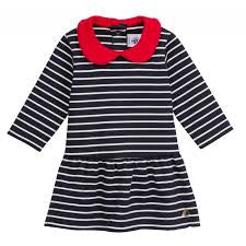Petit Bateau Baby Girl L/S Striped Dress with Red Collar