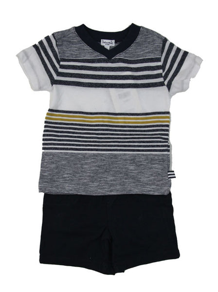 Splendid Mock Stripe Jersey V-Neck Set