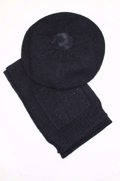 Monnalisa Girl's French Navy Hat and Scarf Set
