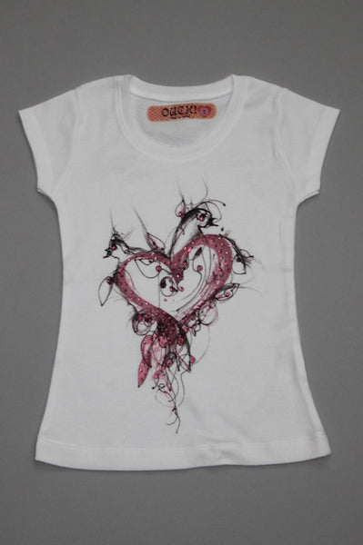 OUCH! Fancy White T-Shirt with Dove Heart