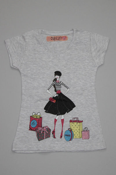 OUCH! Fancy Grey Shopping Girl T-Shirt