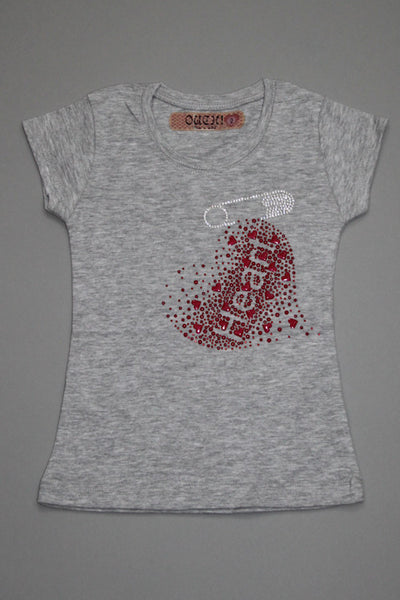 OUCH! Fancy Grey T-Shirt with Heart and Pin