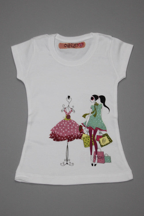 OUCH! Fancy White Shopping Girl T-Shirt