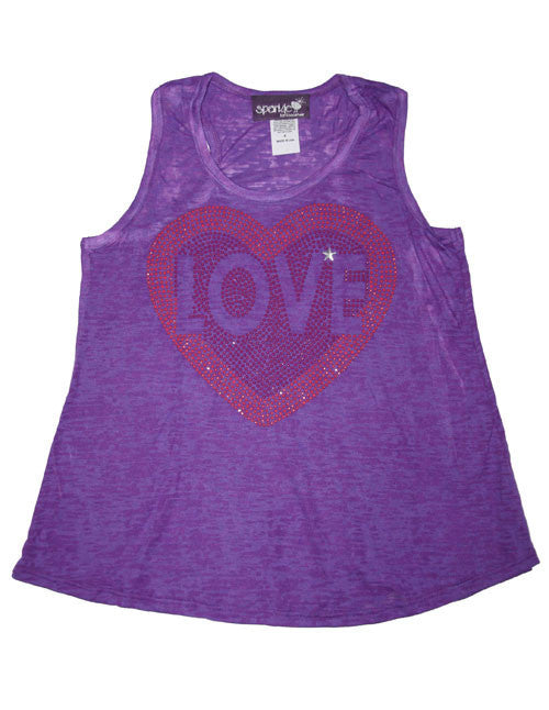 "Sparkly Purple Racerback Tank ""Love Heart"" Design Tees/T-Shirts"