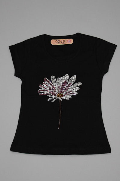 OUCH! Fancy Black T-Shirt with Fusch Daisy