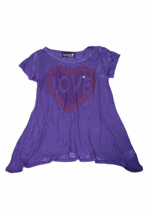 Sparkly Love Heart Design Purple Tees/T-Shirts