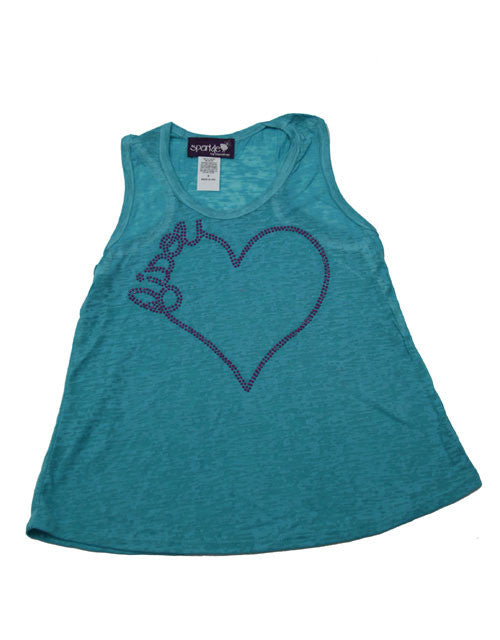 "Sparkly Turquoise Racerback Tank ""Bisou"" Design Tees/T-Shirts"