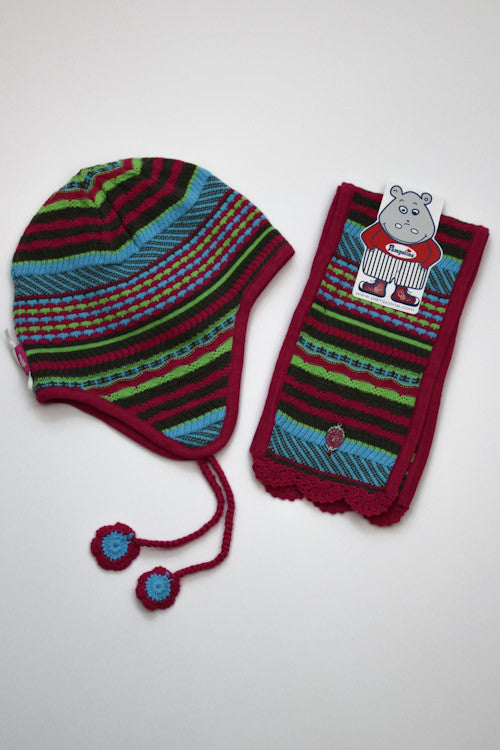 Pampolina Multi Color Hat & Scarf Set