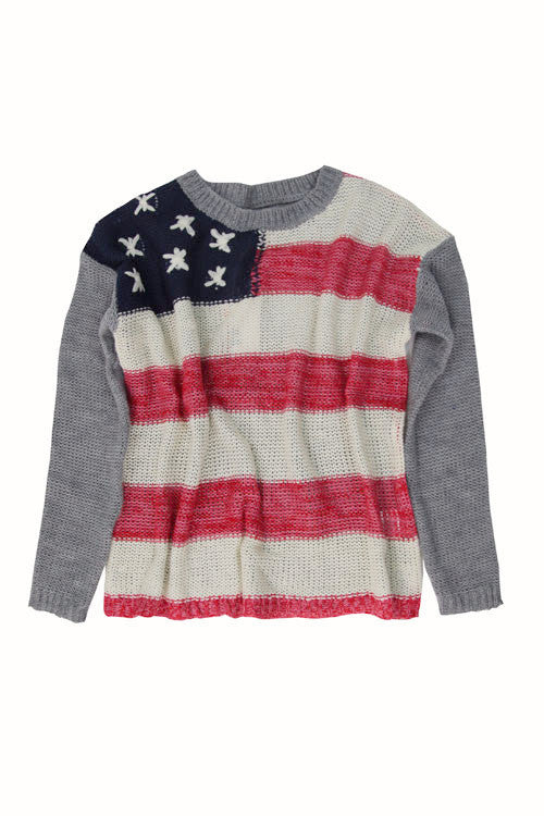 Vintage Havana Girl's Flag Knit Sweater