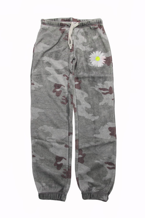 Vintage Havana Girl's Camo Cashmere Fleece Gym Pants with Daisy Graphic