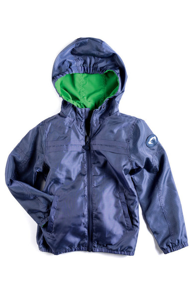 Appaman Boys Indigo Check/ Green Reversible Windbreaker