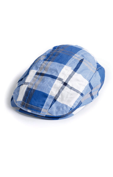 Appaman Boys Blue Plaid Newsboy Cap