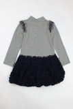 Kate Mack Navy Girl's Ruffle Dress
