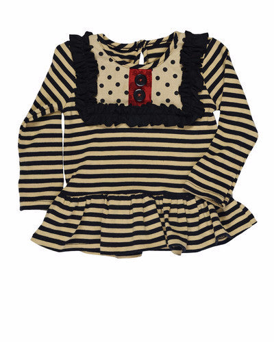 Persnickety Baby Girl's Tan Black Stripe Lou Lou Peplum