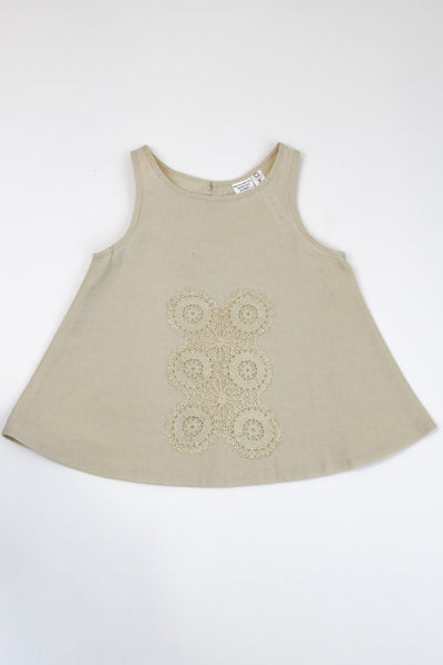 Happy Green Bee Sleeveless Blouse-4T-Natural-4T