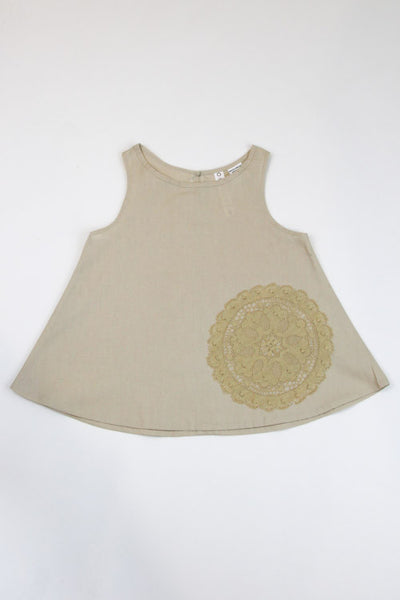 Happy Green Bee Sleeveless Blouse-5T-Natural-5T
