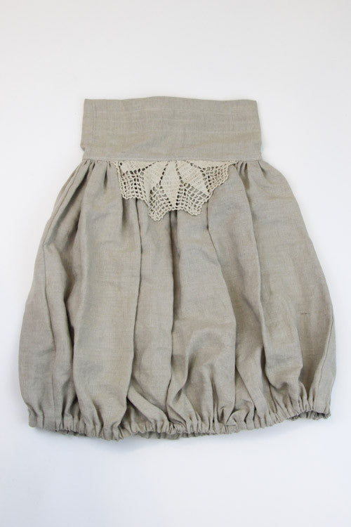 Happy Green Bee Linen Bubble Skirt-6YRS-Natural-6