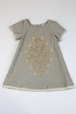 Happy Green Bee Linen Dress -Natural-4T
