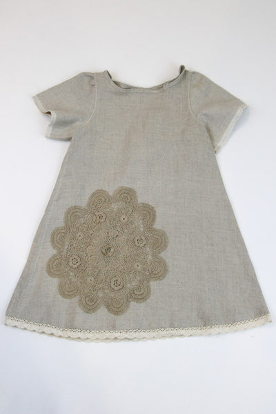 Happy Green Bee Natural Linen Dress Natural- 5T
