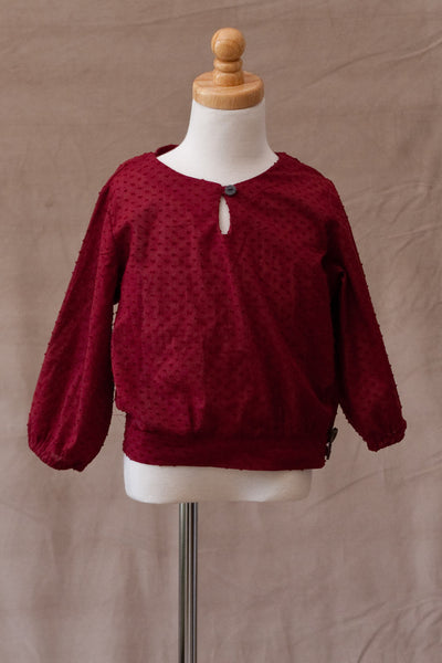 A.BIRD - Park Top in Ruby Swiss Dot