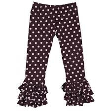 Persnickety Girl's Purple Dot Triple Ruffle Legging