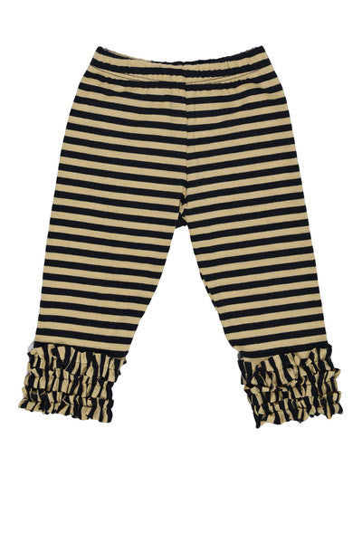 Persnickety Baby Girl's Tan Black Stripe Gathered Ruffle Legging