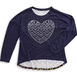 Flowers by Zoe - Sequined Heart Hi-Lo Navy Top