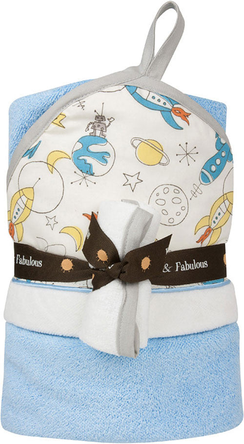 Baby JaR Hooded Towel and Wash Cloth Set in Space Travel Design