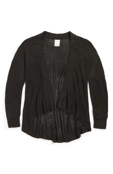 Ella Moss Big Girls' Cara Black Wrap Cardigan