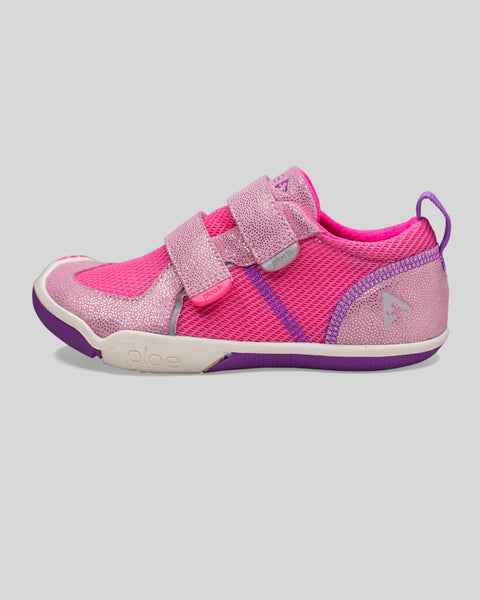 Plae Girl's Shimmer Suede Pink Sneaker Shoes