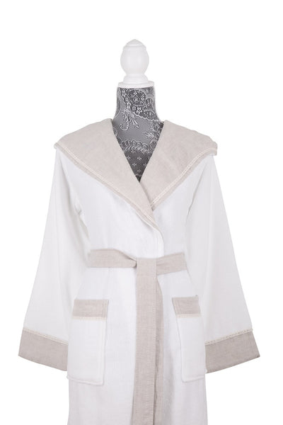 Moss Verbena %100 Cotton Hooded Turkish Spa Bathrobes and Accessories with Linen Trims
