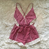 Plum Crochet Trim Romper