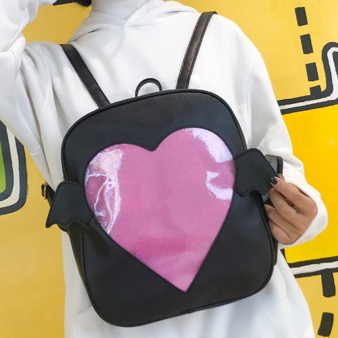 Glitter Heart Angel/Devil Wings Window Ita Bag
