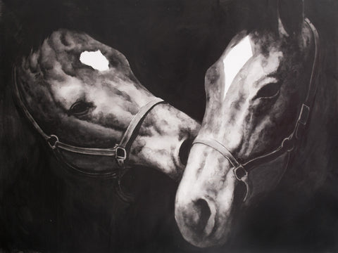 Two Horses in Black and White Oil Painting Canvas Art