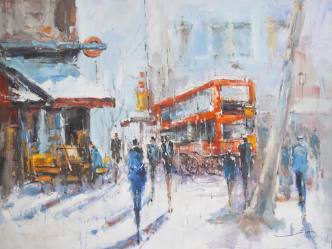 Street of London by Jian Wang Oil Painting Canvas Art