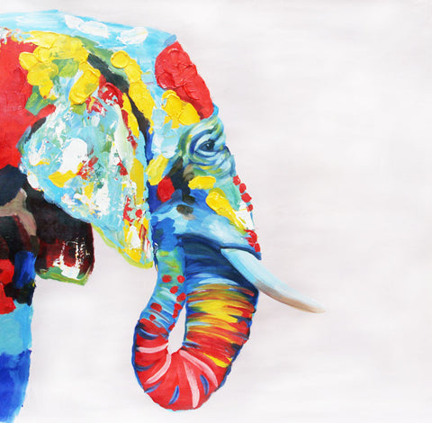 Pop Elephant Oil Painting Canvas Art