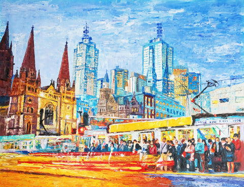 St Kilda Flinders St Junction, Melbourne (Limited Edition) Oil Painting Canvas Art