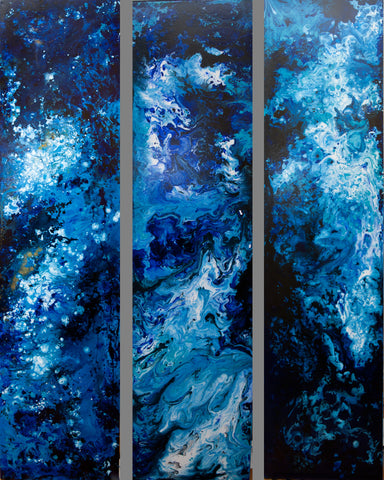 Blue Galaxy Abstract (One of a kind) Oil Painting Canvas Art