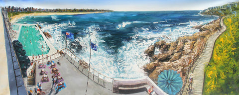Sydney - Bondi Beach Panaroma (Limited Edition) Oil Painting Canvas Art