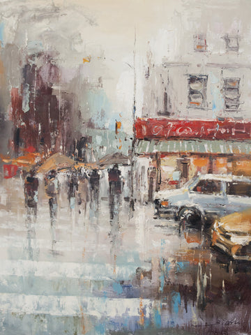 """Road Intersection in Paris"" by Jian Wang Oil Painting Canvas Art"